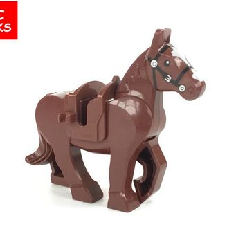 MOC bricks Brown Knight Horse The Lord of the Rings the Hobbits Building Blocks figure Kids DIY Toys Christmas Gifts