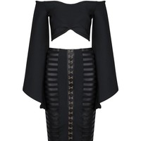 Honey Couture ASHER Black Midi Skirt & Long Sleeve Crop Set