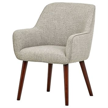 Mid-Century Style Modern Accent Dining Chair, Wood Legs, Light Grey Fabric