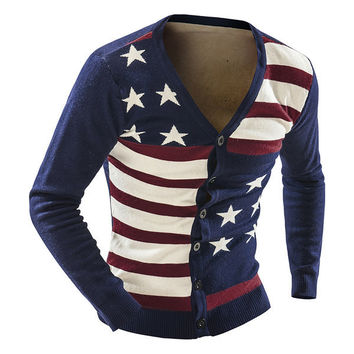 Mens American Flag Cardigan Sweater