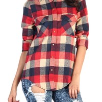 Plaid Button Up Shirt - Red / Navy