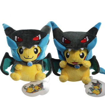 Fashion 2 Style Pikachu Cosplay Mega Charizard X Plush Toys 25cm Kawaii Pikachu Plush Soft Stuffed Animals Toys for Kids