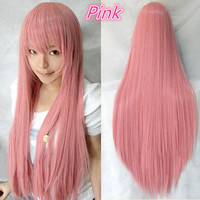 Hallowmas Fashion Stage Anime Cosplay Womens Long Straight Full Hair Costume Ball Wig Party Wigs 4 Colors