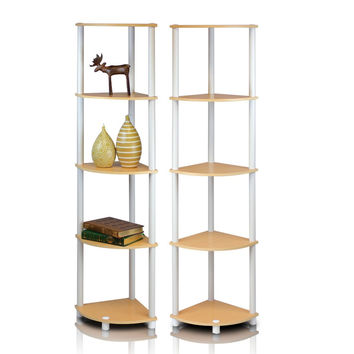 2-99811BE Furinno Turn-N-Tube 5-Tier Corner Display Shelves, Set of 2