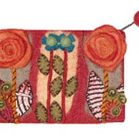 Rising Tide Felted Sheep Wool Sprout Flower Clutch in Red