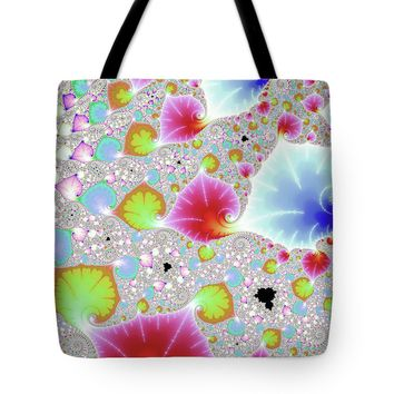 Fractal Leaves Red Green Blue Pastel Tones Tote Bag