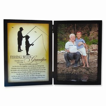Fishing with Grandpa Sentiment 5x7 Black Photo Frame - Perfect Grandfather Gift