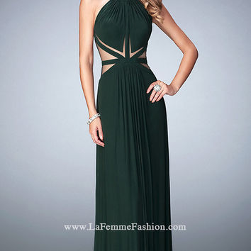 Long Sheer Back La Femme High Neck Prom Dress