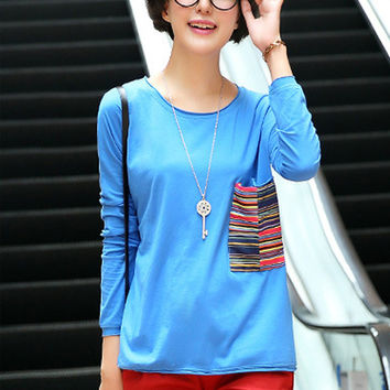 Blue Long Sleeve T-Shirt with Striped Patch Pocket