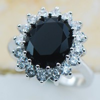 Natural Black Onyx Stone Sterling Silver Ring