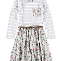 Belted Floral Stripe Dress