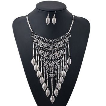 Silver and Black Rhinestone Leaf Triangle Necklace and Earrings
