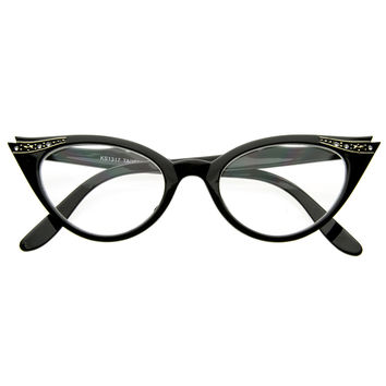 Vintage Cateyes 80s Inspired Fashion Clear Lens Cat Eye Glasses with Rhinestones