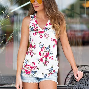 Secret Admirer V Neck Floral Top : Ivory
