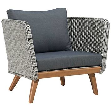 Zuo Grace Bay Gray and Natural Wood Outdoor Armchair - #18X23 | Lamps Plus