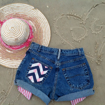 Anchor Chevron Sorority Shorts Peek A Boo Pockets //SUZNEWS Etsy Store//