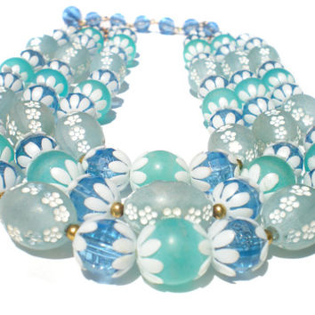 Vintage Necklace with Blue & White Molded Plastic Flower Beads with Three Graduated Strands Signed Deauville - Vintage Costume Jewelry