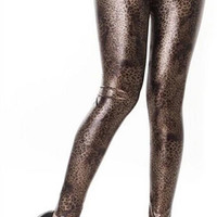 Design 442 - Brown faux leather cheetah leggings