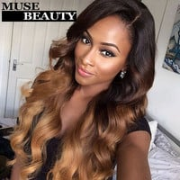 Ross Pretty Hair Brazilian Virgin Hair Ombre 4 Bundles 10A Ombre Brazilian Hair Body Wave Bundles T1B 27 Ombre Hair Extensions