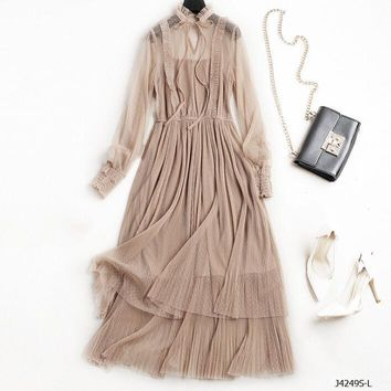 Creamed Coffee Mesh Dress