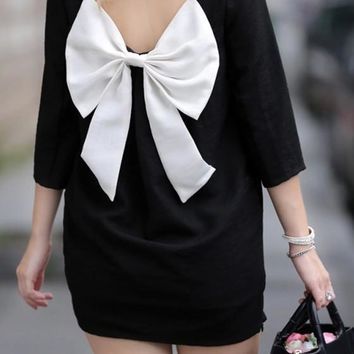 Black Bow Zipper Square Neck Elbow Sleeve Sweet Mini Dress