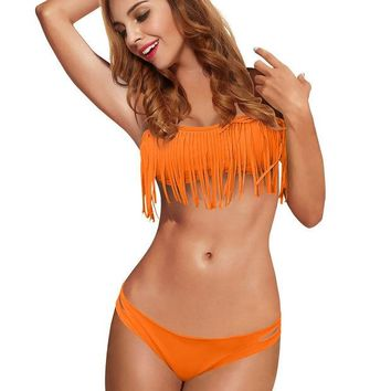 DCK9M2 2013 New Trends! Fashion tassel beach sexy swimwear swimsuit sexy fringes bikini set with top and bottom
