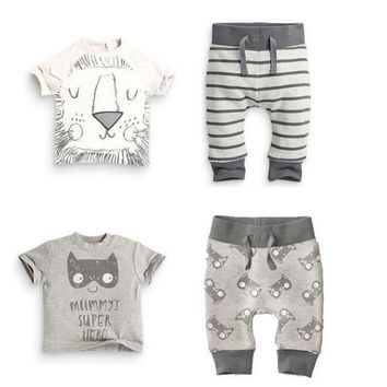 TZ-300 2017 Summer infant clothes baby clothing sets boy Cotton little monsters and the lions short sleeve 2pcs baby boy clothes