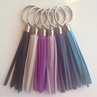 Leather Tassel Keychains with Silver Rings - Black, Light Slate Gray, Purple, Lavender, Plum, Cornflower Blue - Jcrew/Coach Inspired