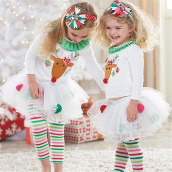 CHAMSGEND Drop ship summer dress kids Baby Girls Cute Christmas Infant Toddler Santa Elk Cake Dress 2 Pieces Feb7 S35