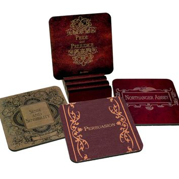 Jane Austen Waterproof Coasters with Display Holder