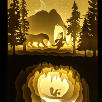 Silhouette  Ice Age animals paper cut Light box Night light Accent Lamp birthday gift idea shadow box kids baby nursery room art lightbox