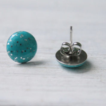 turquoise glitter earrings, stud earrings, resin jewelry, hypoallergenic jewelry