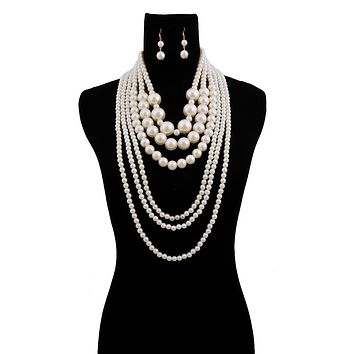 Cream Graduated Pearl Long Layered Necklace Set