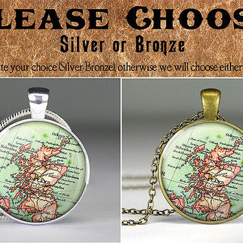 vintage Scotland map pendant charm,Scotland map jewelry,map necklace,resin pendant- M4009CP