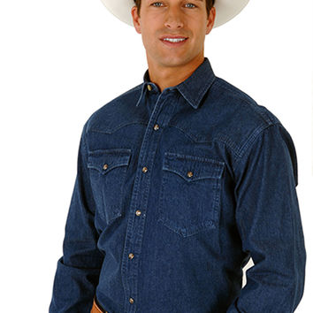 Roper Mens  Banded Collar Solid Color Denim Basic Long Sleeve Shirt Snap Closure