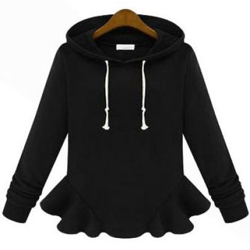 Black Hooded Long Sleeve Ruffle Sweatshirt - Sheinside.com
