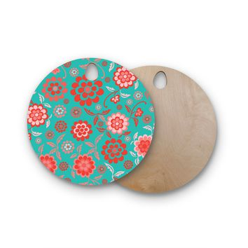 """Nicole Ketchum """"Cherry Floral Sea"""" Round Wooden Cutting Board"""