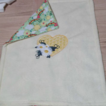yellow doll fleece bedding fits 18 inch american girl doll bed fleece embroidered heart daisy blanket green backing