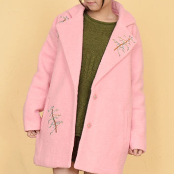 Pink Lapel Embroidered Christmas Tree Sweet Coat