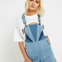 Dylan Sun Denim Short Overalls - Stone Blue