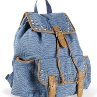 Studded Zebra Denim Backpack - Aeropostale