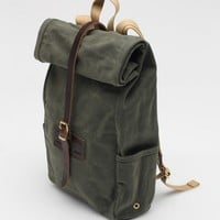 Archival Clothing / Rolltop In Olive Waxed Twill