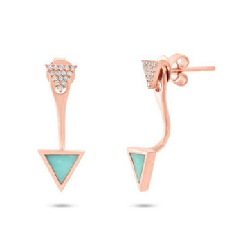 0.09ct Diamond & 0.40ct Composite Turquoise 14k Rose Gold Triangle Earring Jacket with Stud