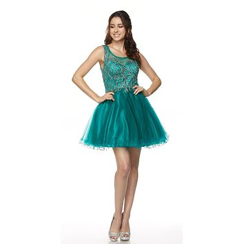 Juliet 789 Scoop Neck Appliqued Bodice Short Prom Dress Green