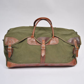 vintage duffle bag leather ORVIS gokey canvas carry on weekender travel duffel hunting battenkill