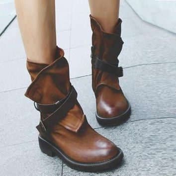 Fashion ankle boots for women Medium Military Boots Women Buckle Artificial Leather Patchwork female Shoes botas mujer