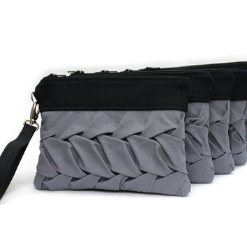Set of 5 Gray Bridesmaid Clutch, Small Hand Bag, Black Wristlet Purse, Pleated Clutch Bag,Black Zipper Pouch,Wedding Purse,Black Gray Clutch
