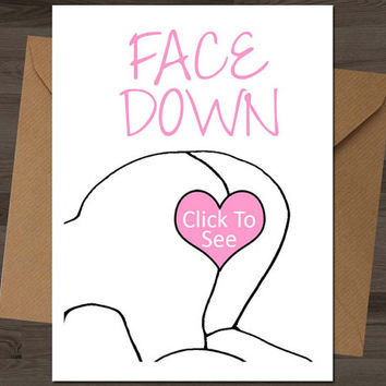 Face Down Card, anniversary card card for boyfriend card for him card for husband card for men funny birthday card naughty birthday card