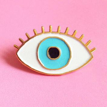 Lucky BLUE Eye Enamel pin - Eye brooch - Evil Eye pin's - eyeball pin s - third eye pins - jewelry fun kitsch enamel brooch