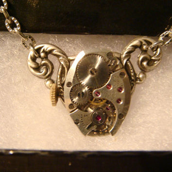 Steampunk Neo Victorian ELGIN Vintage Watch Movement Necklace on Ornate Setting (1088)